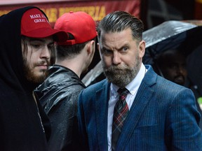 Activist Gavin McInnes takes part in an Alt Right protest of Muslim activist Linda Sarsour on May 25, 2017 in New York City. (Stephanie Keith/Getty Images)