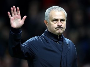 Jose Mourinho applauds supporters during the UEFA Europa League game between Manchester United and AS Saint-Etienne at Old Trafford on February 16, 2017 in Manchester. (Clive Brunskill/Getty Images)