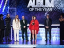 (L-R) Craig Alvin, Shawn Everett, Ian Fitchuk, Daniel Tashian, Steve Fallone, Kacey Musgraves, and Greg Calbi accept the Album Of The Year award for 'Golden Hour' during the 61st Annual GRrammy Awards at Staples Center on Feb. 10, 2019 in Los Angeles.