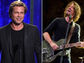 Brad Pitt (L) is producing a documentary on Chris Cornell, the late frontman of Soundgarden.