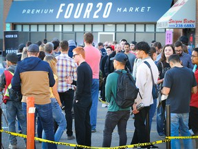 Line-ups continue at FOUR20 Premium Market on MacLeod Trail in Calgary on Friday, October 19, 2018. Al Charest/Postmedia