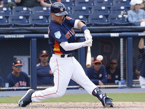 Alex Bregman of the Houston Astros hits the ball against the Miami Marlins during a spring training game at The Fitteam Ballpark of the Palm Beaches on March 14, 2019 in West Palm Beach, Florida. (Joel Auerbach/Getty Images)