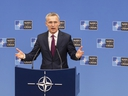 NATO Secretary General Jens Stoltenberg presents the annual report for 2018 during a media conference at NATO headquarters in Brussels, Thursday, March 14, 2019.
