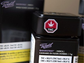 Packaging for recreational cannabis products are shown at Canopy Growth Corporation's Tweed headquarters in Smiths Falls, Ont.