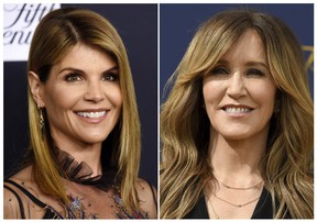Stars Lori Loughlin, left, and Felicity Huffman along with 38 others have been busted in a college admissions bribery scam.