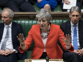 In this Tuesday March 12, 2019 file photo Britain's Prime Minister Theresa May speaks to lawmakers in parliament.