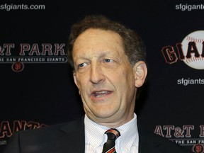 In this Jan. 19, 2018, file photo, San Francisco Giants President and CEO Larry Baer is shown during a press conference in San Francisco.