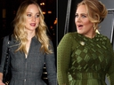 Actress Jennifer Lawrence, left, and singer Adele, right.