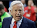 In this Feb. 4, 2018, file photo, New England Patriots owner Robert Kraft, arrives at U.S. Bank Stadium before Super Bowl 52 against the Philadelphia Eagles in Minneapolis.
