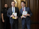 Prime Minister Justin Trudeau and Minister of Finance Bill Morneau arrive in the Foyer of the House of Commons to table the federal budget on Parliament Hill in Ottawa on Tuesday, March 19, 2019.