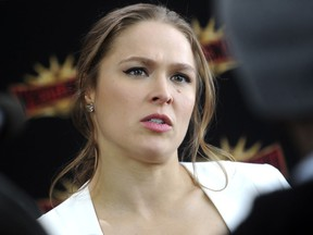 Ronda Rousey at a press conference for WrestleMania 35 in New York on March 16, 2018