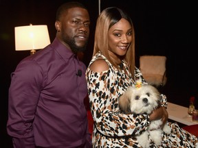 Kevin Hart and Tiffany Haddish pose backstage at CinemaCon 2019 at The Colosseum at Caesars Palace on April 3, 2019 in Las Vegas.  (Alberto E. Rodriguez/Getty Images for CinemaCon)
