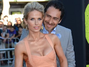 """Stefanie Sherk and actor Demian Bichir arrives at the premiere of Universal Pictures' """"Savages"""" at Westwood Village on June 25, 2012 in Los Angeles, Calif.  (Michael Buckner/Getty Images)"""