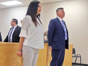 Edinburg, Texas Mayor Richard Molina and his wife Dalia Molina are arraigned on illegal voting and engaging in organized election fraud charges on Thursday, April 25, 2019, in Pharr, Texas. (Richard Molina/The Monitor via AP)