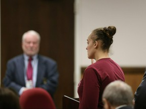 Cassie Barker, an ex-Long Beach police officer, pleads guilty to manslaughter in Harrison County Circuit Court in Gulfport, Miss., on Monday, March 18, 2019. (Justin Mitchell/The Sun Herald via AP)