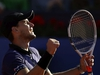 Austria's Dominic Thiem celebrates winning against Spain's Rafael Nadal in two sets 4-6, 4-6, during a semifinal match at the Barcelona Open Tennis Tournament in Barcelona, Spain, Saturday, April 27, 2019. (AP Photo/Manu Fernandez) ORG XMIT: XDMV187