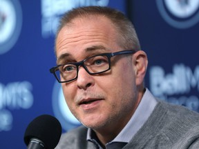 Winnipeg Jets head coach Paul Maurice addresses media at his end-of-season press conference at Bell MTS Place in Winnipeg on Monday.