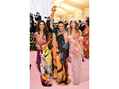 Camila Coelho, left, Diane von Furstenberg, centre, and Talita Von Furstenberg attend the 2019 Met Gala Celebrating Camp: Notes on Fashion at Metropolitan Museum of Art on May 6, 2019 in New York City.