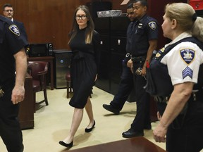 Anna Sorokin arrives for sentencing at New York State Supreme Court, in New York, Thursday, May 9, 2019. Sorokin faces sentencing following her conviction for theft of services and grand larceny. She defrauded celebrity circles in Manhattan and financial institutions into believing she had a fortune of about $67 million overseas.