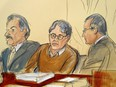 In this courtroom drawing, defendant Keith Raniere, centre, is seated between his attorneys Paul DerOhannesian, left, and Marc Agnifilo during the first day of his sex trafficking trial, Tuesday, May 7, 2019.