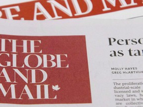 The Globe and Mail newspapers are seen Friday Dec. 1, 2017 in Ottawa.