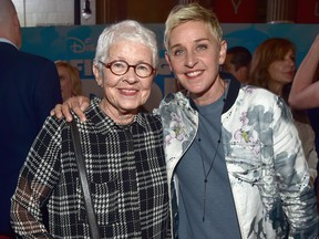 """Betty DeGeneres, left, and her daughter, Ellen, attend the world premiere of Disney-Pixar's """"Finding Dory"""" on Wednesday, June 8, 2016 in Hollywood, Calif.  (Alberto E. Rodriguez/Getty Images for Disney)"""