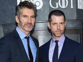 """In this Wednesday, April 3, 2019, file photo, creator/executive producers David Benioff, left, and D. B. Weiss attend HBO's """"Game of Thrones"""" final season premiere at Radio City Music Hall in New York."""