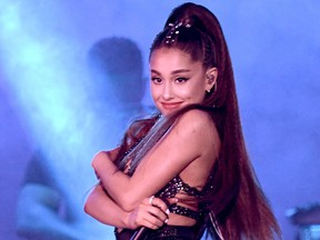 Ariana Grande performs onstage during the 2018 iHeartRadio by AT&T at Banc of California Stadium on June 2, 2018 in Los Angeles.