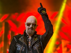 Judas Priest lead singer Rob Halford performs at the Air Canada Centre in Toronto on Thursday Nov. 12, 2015.