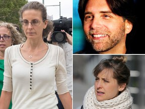 Seagrams heiress Clare Bronfman and two of her co-defendants in the sex-trafficking prosecution, including NXIVM founder Keithe Raniere (top R) and Allison Mack (bottom R). (AP Photo/Mary Altaffer/Keithraniere.com/AP Photo/Seth Wenig)