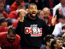 Rapper Drake reacts during Game 4 between the Milwaukee Bucks and the Toronto Raptors.