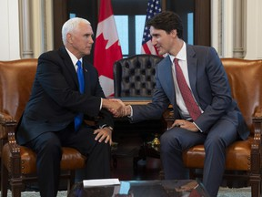 Prime Minister Justin Trudeau meets with U.S. Vice-President Mike Pence in his office on Parliament Hill in Ottawa, Thursday May 30, 2019.