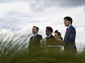 Canadian Prime Minister Justin Trudeau holds a press conference on the roof of the Canadian embassy in Washington, DC, on June 20, 2019