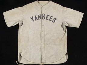 One of Babe Ruth's jerseys went up for action at Yankee Stadium in New York City on Saturday, June 15, 2019.