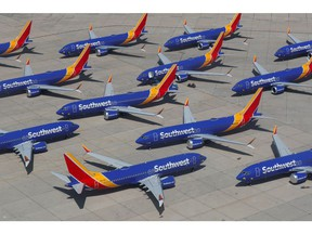 A number of grounded Southwest Airlines Boeing 737 MAX 8 aircraft are shown parked at Victorville Airport in Victorville, California, U.S., March 26, 2019.
