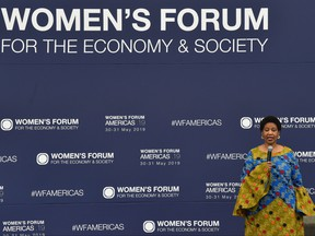 The executive director of UN Women, Phumzile Mlambo-Ngcuka, speaks during the opening ceremony of the Women's Forum Americas in Mexico City, on May 30, 2019. (RODRIGO ARANGUA/AFP/Getty Images)
