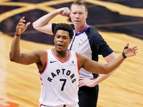 Raptors guard Kyle Lowry reacts after fouling out against the Golden State Warriors during the fourth quarter in Game 2 of the 2019 NBA Finals at Scotiabank Arena. (KYLE TERADA/USA TODAY Sports)