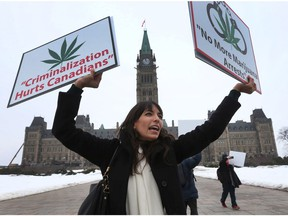 Canada's Princess of pot Jodie Emery protests on Parliament Hill in Ottawa Wednesday Feb 22, 2017. Jodie was demanding the government act quickly to legalize marijuana and immediately stop arresting people for simple possession.