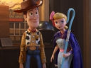 Woody (Tom Hanks) and Bo Peep (Annie Potts) in a scene from Toy Story 4. (Disney/Pixar)