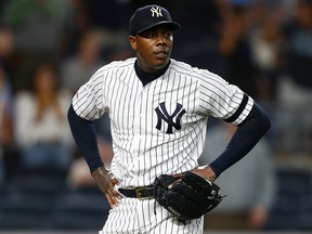 New York Yankees' Aroldis Chapman reacts after giving up a three-run home run to Travis d'Arnaud of the Tampa Bay Rays in the ninth inning at Yankee Stadium on July 15, 2019 in New York City. (Mike Stobe/Getty Images)