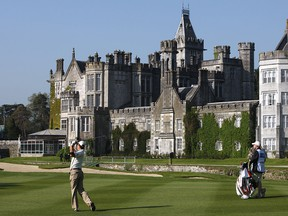 Padraig Harrington plays his second shot on the 15th fairway during the Irish Open at the Adare Manor in Limerick, Ireland, on May 15, 2008. (PETER MUHLY/AFP/Getty Images)