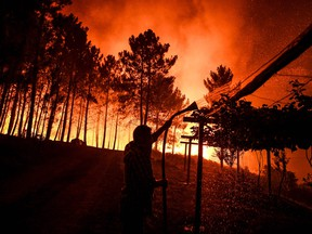 A villager holds a hose as a wildfire comes close to his house at Amendoa in Macao, central Portugal on July 21, 2019.