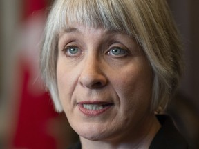 Employment, Workforce Development and Labour Minister Patty Hajdu comments on the Ontario budget in the Foyer of the House of Commons in Ottawa, Friday April 12, 2019.