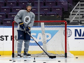 Michael Del Zotto of the St. Louis Blues looks on during a practice ahead of Game 3 of the Stanley Cup final at Enterprise Center on May 31, 2019 in St Louis. (Bruce Bennett/Getty Images)