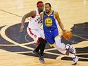 Golden State Warriors forward Kevin Durant loses control of the ball while defended by Toronto Raptors forward Pascal Siakam at Scotiabank Arena. (John E. Sokolowski-USA TODAY Sports)
