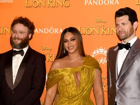 """Seth Rogen, left, Beyonce Knowles-Carter, middle, and Billy Eichner attend the European Premiere of Disney's """"The Lion King"""" at Odeon Luxe Leicester Square on July 14, 2019 in London. (Gareth Cattermole/Getty Images for Disney)"""