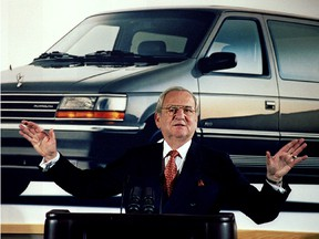 Former Chrysler chairman Lee A. Iacocca is seen during a Chrysler briefing on earnings in February 1991.