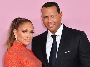 Jennifer Lopez and fiance Alex Rodriguez arrive for the 2019 CFDA fashion awards at the Brooklyn Museum in New York City on June 3, 2019. (ANGELA WEISS/AFP/Getty Images)