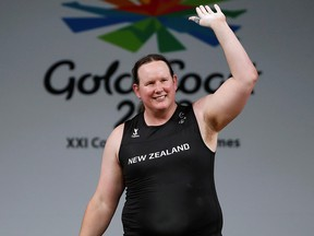 Laurel Hubbard of New Zealand waves after competing in the 2018 Gold Coast Commonwealth Games in Australia Aupril 9, 2018. (REUTERS/Paul Childs/File Photo)
