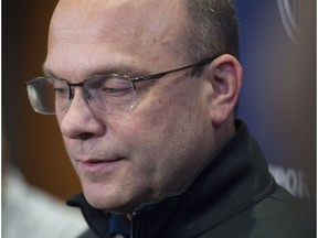 Edmonton Oilers General Manager Peter Chiarelli at Rogers Place on February 23, 2018 prior to the NHL trade deadline.